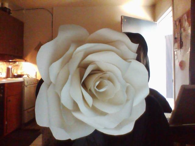 My paper rose, on a wooden skewer instead of a cotton swab.